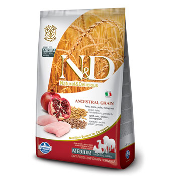 N&D ANC DOG ADULT MEDIO  12KG POLLO E MELOGRANO