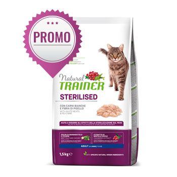 NATURAL TRAINER CAT STERILISED CARNI BIANCHE 1,5 KG