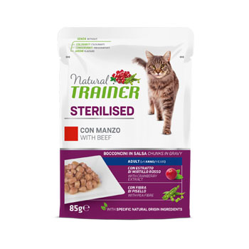 NATURAL TRAINER CAT BUSTA STERILISED MANZO 85 GR.