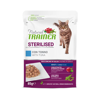 NATURAL TRAINER CAT BUSTA STERILISED TONNO 85 GR.