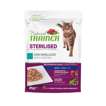 NATURAL TRAINER CAT BUSTA STERILISED MERLUZZO 85 GR.