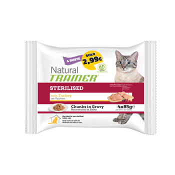 NATURAL TRAINER CAT FLOWPACK BUSTA STERILISED TACCHINO 4*85 GR.