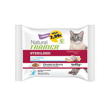 NATURAL TRAINER CAT FLOWPACK BUSTA STERILISED MERLUZZO 4*85 GR.